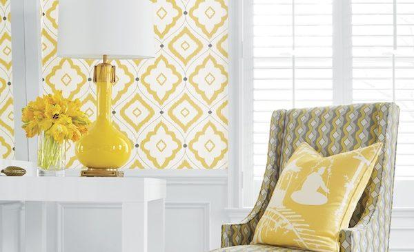 Yellow and white diamond pattern wallpaper from Thibaut Design