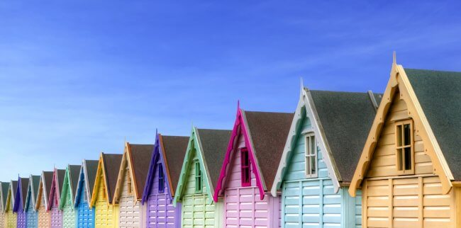 A row of colorful beach houses