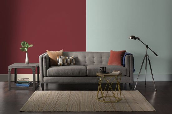 Benjamin Moore studio. living room with dual colored wall