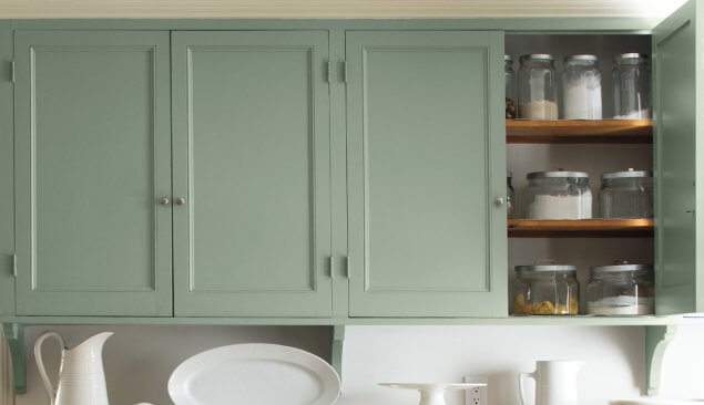 Green Kitchen Cabinets with Benjamin Moore Paints