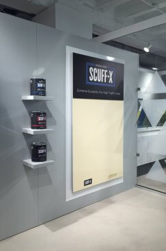 Benjamin Moore Scuff-x showroom with their three brand products