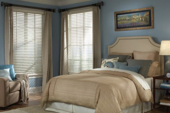 Pinnacle Blinds in a light blue and tan bedroom
