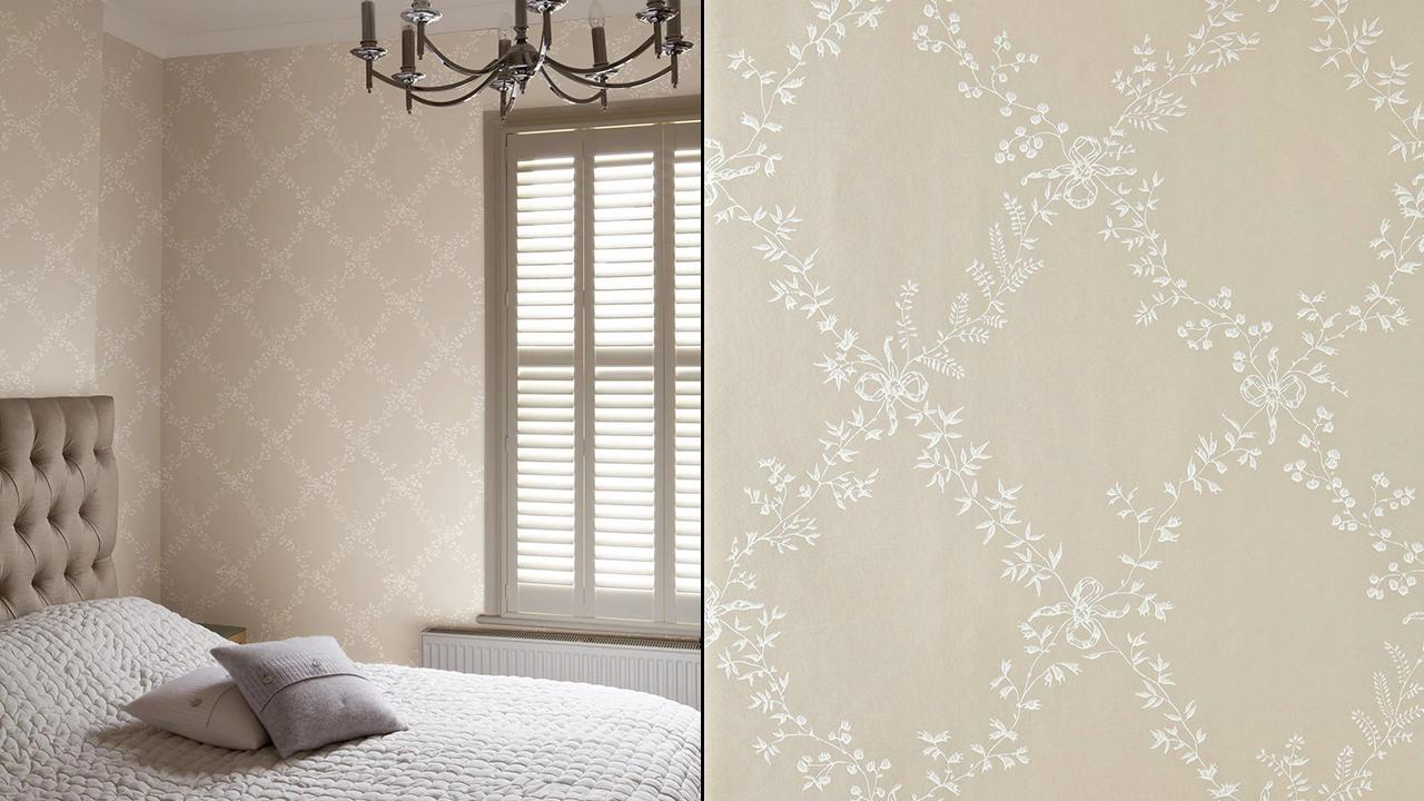 Furrow & Ball Toile Trellis Wallpaper Tan. with White Patteren
