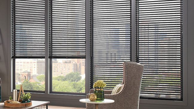 Graber Vinyl Blinds - Black with Comfy Chair